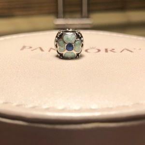 Pandora turquoise blue flower charm